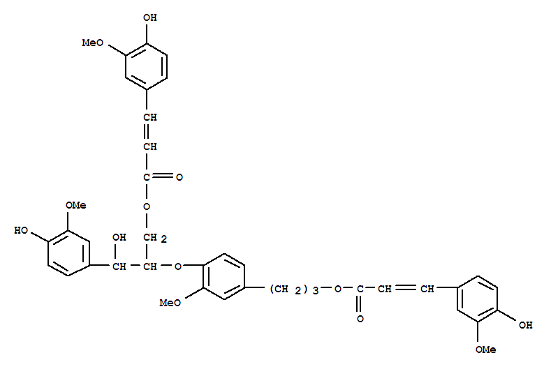 171866-18-5,2-Propenoic acid,3-(4-hydroxy-3-methoxyphenyl)-,3-[4-[2-hydroxy-2-(4-hydroxy-3-methoxyphenyl)-1-[[[3-(4-hydroxy-3-methoxyphenyl)-1-oxo-2-propenyl]oxy]methyl]ethoxy]-3-methoxyphenyl]propylester (9CI),CarolignanD
