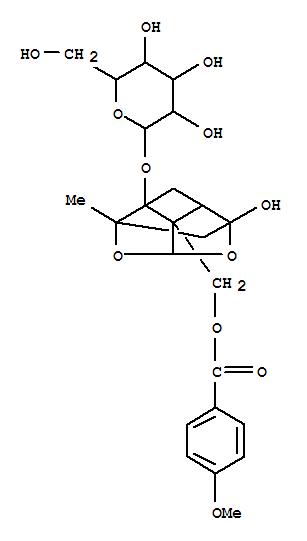 172705-24-7,b-D-Glucopyranoside,(1aR,2S,3aR,5R,5aR,5bS)-tetrahydro-5-hydroxy-5b-[[(4-methoxybenzoyl)oxy]methyl]-2-methyl-2,5-methano-1H-3,4-dioxacyclobuta[cd]pentalen-1a(2H)-yl,b-D-Glucopyranoside,tetrahydro-5-hydroxy-5b-[[(4-methoxybenzoyl)oxy]methyl]-2-methyl-2,5-methano-1H-3,4-dioxacyclobuta[cd]pentalen-1a(2H)-yl,[1aR-(1aa,2b,3aa,5a,5aa,5ba)]-; Mudanpioside D
