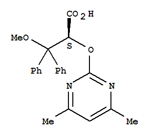 Molecular Structure of 177036-94-1 (Benzenepropanoic acid, a-[(4,6-dimethyl-2-pyrimidinyl)oxy]-b-methoxy-b-phenyl-, (aS)-)