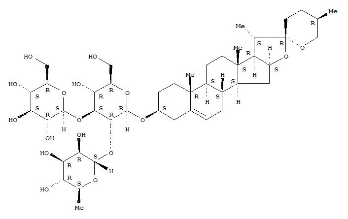 Molecular Structure of 19083-00-2 (b-D-Glucopyranoside, (3b,25R)-spirost-5-en-3-ylO-6-deoxy-a-L-mannopyranosyl-(1®2)-O-[b-D-glucopyranosyl-(1®3)]-)