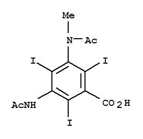 1949-45-7,Benzoic acid,3-(acetylamino)-5-(acetylmethylamino)-2,4,6-triiodo-,Benzoicacid, 3-acetamido-2,4,6-triiodo-5-(N-methylacetamido)- (7CI,8CI);3,5-Diacetamido-N-methyl-2,4,6-triiodobenzoic acid; Metrizoate; Metrizoic acid