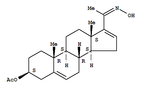 Molecular Structure of 2174-13-2 (Pregna-5,16-dien-20-one,3-(acetyloxy)-, 20-oxime, (3b)-)