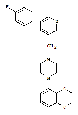 Molecular Structure of 222551-17-9 (Piperazine,1-(2,3-dihydro-1,4-benzodioxin-5-yl)-4-[[5-(4-fluorophenyl)-3-pyridinyl]methyl]-)