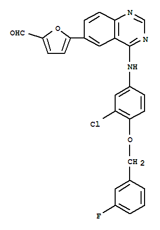 Molecular Structure of 231278-84-5 (5-[4-((3-Chloro-4-((3-fluorobenzyl)oxy)phenyl)amino)quinazolin-6-yl]-2-furaldehyde)