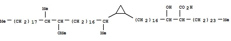 23725-22-6,Cyclopropanenonadecanoicacid, b-hydroxy-2-(18-methoxy-1,19-dimethylheptatriacontyl)-a-tetracosyl- (9CI),Hexacosanoicacid, 2-[1-hydroxy-17-[2-(18-methoxy-1,19-dimethylheptatriacontyl)cyclopropyl]heptadecyl]-,trans- (8CI); Mycolic acid IIb