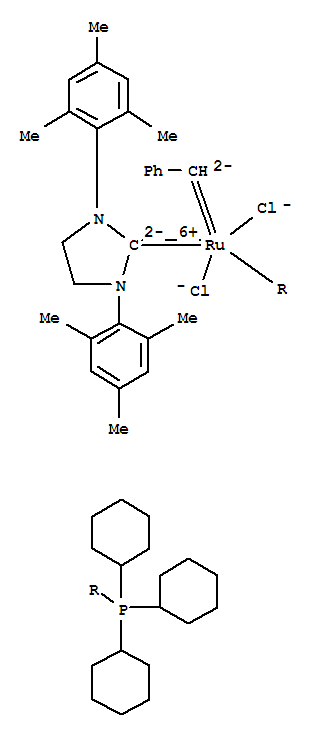 Molecular Structure of 246047-72-3 (Ruthenium,[1,3-bis(2,4,6-trimethylphenyl)-2-imidazolidinylidene]dichloro(phenylmethylene)(tricyclohexylphosphine)-,(SP-5-41)-)