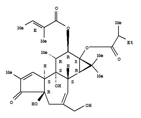 250268-57-6,2-Butenoic acid,2-methyl-,(1aR,1bS,4aR,7aS,7bS,8R,9R,9aS)-1a,1b,4,4a,5,7a,7b,8,9,9a-decahydro-4a,7b-dihydroxy-3-(hydroxymethyl)-1,1,6,8-tetramethyl-9a-(2-methyl-1-oxobutoxy)-5-oxo-1H-cyclopropa[3,4]benz[1,2-e]azulen-9-ylester, (2E)- (9CI),12-O-Tigloylphorbol-13-(2-methylbutyrate)