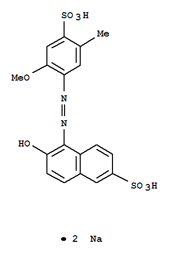 Molecular Structure of 25956-17-6 (2-Naphthalenesulfonicacid, 6-hydroxy-5-[2-(2-methoxy-5-methyl-4-sulfophenyl)diazenyl]-, sodium salt(1:2))