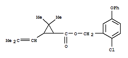 26002-87-9,Cyclopropanecarboxylicacid, 2,2-dimethyl-3-(2-methyl-1-propen-1-yl)-,(2-chloro-5-phenoxyphenyl)methyl ester,Cyclopropanecarboxylicacid, 2,2-dimethyl-3-(2-methyl-1-propenyl)-, (2-chloro-5-phenoxyphenyl)methylester (9CI); Cyclopropanecarboxylic acid, 2,2-dimethyl-3-(2-methylpropenyl)-,2-chloro-5-phenoxybenzyl ester (8CI); Benzyl alcohol, 2-chloro-5-phenoxy-,2,2-dimethyl-3-(2-methylpropenyl)cyclopropanecarboxylate (8CI); SP 2545