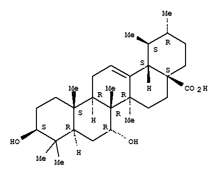 Molecular Structure of 28348-90-5 (Urs-12-en-28-oic acid,3,7-dihydroxy-, (3b,7a)- (9CI))