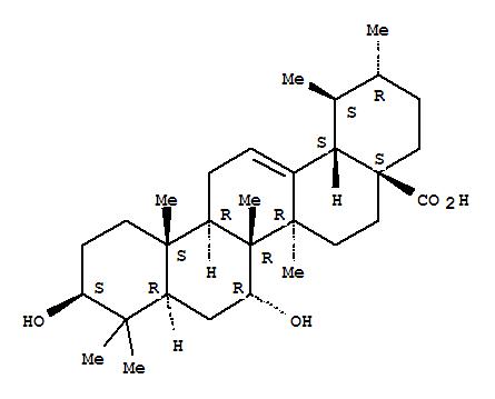 Molecular Structure of 28348-90-5 (Urs-12-en-28-oic acid,3,7-dihydroxy-, (3b,7a)- (9CI))