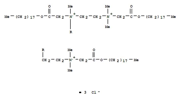 28719-79-1,1,2-Ethanediaminium,N1-[2-[dimethyl[2-(octadecyloxy)-2-oxoethyl]ammonio]ethyl]-N1,N2,N2-trimethyl-N1,N2-bis[2-(octadecyloxy)-2-oxoethyl]-,chloride (1:3),1,2-Ethanediaminium,N-[2-[dimethyl[2-(octadecyloxy)-2-oxoethyl]ammonio]ethyl]-N,N',N'-trimethyl-N,N'-bis[2-(octadecyloxy)-2-oxoethyl]-,trichloride (9CI); 2,5,8-Triazonianonane,1,9-dicarboxy-5-(carboxymethyl)-2,2,5,8,8-pentamethyl-, trichloride, trioctadecylester (8CI)
