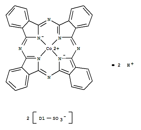 29383-29-7,Cobaltate(2-),[29H,31H-phthalocyanine-C,C-disulfonato(4-)-kN29,kN30,kN31,kN32]-, hydrogen (1:2),Cobalt,[dihydrogen phthalocyaninedisulfonato(2-)]- (7CI,8CI); Cobaltate(2-),[29H,31H-phthalocyanine-C,C-disulfonato(4-)-N29,N30,N31,N32]-, dihydrogen;Cobaltate(2-), [29H,31H-phthalocyanine-C,C-disulfonato(4-)-kN29,kN30,kN31,kN32]-, dihydrogen (9CI);Phthalocyaninedisulfonic acid, cobalt deriv. (6CI); 29H,31H-Phthalocyanine-C,C-disulfonicacid, cobalt complex; (Disulfophthalocyaninato)cobalt; Cobaltdisulfophthalocyanine; Cobalt phthalocyaninedisulfonate; RDM 02
