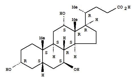 2955-27-3,Cholan-24-oic acid,3,7,12-trihydroxy-, (3a,5b,7b,12a)-,5b-Cholan-24-oic acid, 3a,7b,12a-trihydroxy- (8CI); 5b-Cholanic acid, 3a,7b,12a-trihydroxy- (7CI); 3a,7b,12a-Trihydroxy-5b-cholan-24-oic acid; 3a,7b,12a-Trihydroxy-5b-cholanic acid; 3a,7b,12a-Trihydroxy-5b-cholanoic acid; 3a,7b,12a-Trihydroxycholanic acid;7-Epicholic acid; 7b-Hydroxyisocholic acid; Ursocholic acid