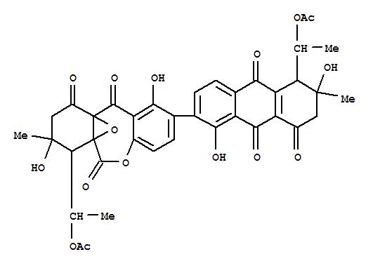 30270-35-0,6H,11H-6a,10a-Epoxydibenz[b,e]oxepin-6,10,11(7H)-trione,7-[1-(acetyloxy)ethyl]-2-[(5S,6S)-5-[(1R)-1-(acetyloxy)ethyl]-5,6,7,8,9,10-hexahydro-1,6-dihydroxy-6-methyl-8,9,10-trioxo-2-anthracenyl]-8,9-dihydro-1,8-dihydroxy-8-methyl-,(7S,8S)-,JulichromeQ1.9