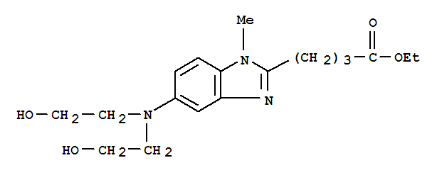 Molecular Structure of 3543-74-6 (1H-Benzimidazole-2-butanoicacid, 5-[bis(2-hydroxyethyl)amino]-1-methyl-, ethyl ester)