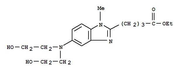 Molecular Structure of 3543-74-6 (1H-Benzimidazole-2-butanoicacid, 5-[bis(2-hydroxyethyl)amino]-1-methyl-, ethyl ester)