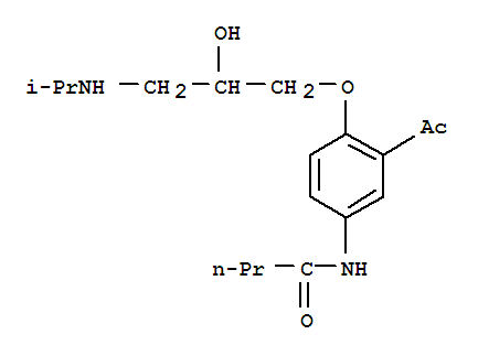 Molecular Structure of 37517-30-9 (Butanamide,N-[3-acetyl-4-[2-hydroxy-3-[(1-methylethyl)amino]propoxy]phenyl]-)