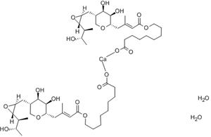 115074-43-6,Mupirocin calcium dihydrate,Calcium 9-[(E)-4-[(2S,3R,4R,5S)-3,4-dihydroxy-5-[[(2S,3S)-3-[(2S,3S)-3-hydroxybutan-2-yl]oxiran-2-yl]methyl]oxan-2-yl]-3-methylbut-2-enoyl]oxynonanoate dihydrate;