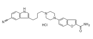 High quality 5-[4-[4-(5-Cyanoindol-3-yl)butyl]piperazin-1-yl]benzofuran-2-carboxamide hydrochloride supplier in China