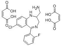 Molecular Structure of 59469-29-3 (2-Aminomethyl-7-chloro-2,3-dihydro-5-(2-fluorophenyl)-1H-1,4-benzodiazepine dimaleate)