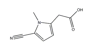 Molecular Structure of 71290-65-8 (5-cyano-1-methyl-1H-pyrrole-2-acetic acid)