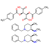 Molecular Structure of 477600-71-8 (Butanedioic acid, 2,3-bis[(4-methylbenzoyl)oxy]-, (2R,3R)-, compd. with (3R,4R)-N,4-dimethyl-1-(phenylmethyl)-3-piperidinamine (1:2))