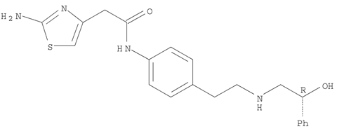 Molecular Structure of 223673-61-8 (4-Thiazoleacetamide, 2-amino-N-[4-[2-[[(2R)-2-hydroxy-2-phenylethyl]amino]ethyl]phenyl]-)