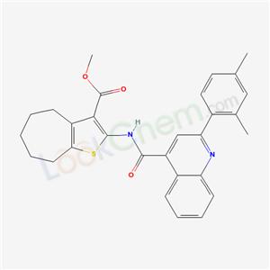 5701-99-5,methyl 9-[[2-(2,4-dimethylphenyl)quinoline-4-carbonyl]amino]-10-thiabicyclo[5.3.0]deca-8,11-diene-8-carboxylate,