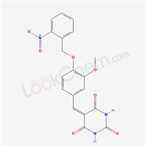 5568-59-2,5-[[3-methoxy-4-[(2-nitrophenyl)methoxy]phenyl]methylidene]-1,3-diazinane-2,4,6-trione,
