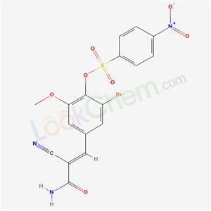 Molecular Structure of 6094-35-5 ((E)-3-[3-bromo-5-methoxy-4-(4-nitrophenyl)sulfonyloxy-phenyl]-2-cyano-prop-2-enamide)