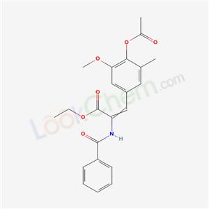5420-40-6,ethyl 3-(4-acetyloxy-3-methoxy-5-methyl-phenyl)-2-benzamido-prop-2-enoate,
