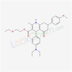 5708-17-8,2-ethoxyethyl 4-(4-diethylaminophenyl)-7-(4-methoxyphenyl)-2-methyl-5-oxo-4,6,7,8-tetrahydro-1H-quinoline-3-carboxylate,