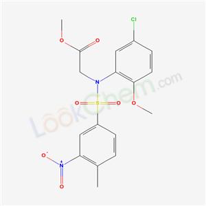 4314-08-3,methyl 2-[(5-chloro-2-methoxy-phenyl)-(4-methyl-3-nitro-phenyl)sulfonyl-amino]acetate,