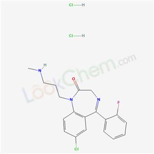 4196-18-3,2H-1,4-Benzodiazepin-2-one, 7-chloro-5-(2-fluorophenyl)-1,3-dihydro-1-(3-(methylamino)propyl)-, dihydrochloride,