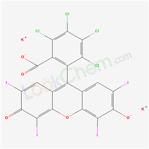 Molecular Structure of 11121-48-5 (4,5,6,7-Tetrachloro-2',4',5',7'-tetraiodofluorescein dipotassium salt)