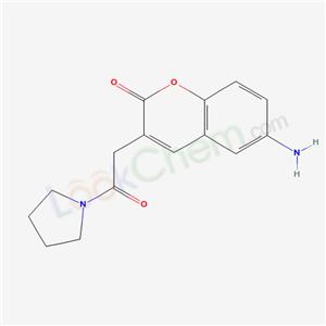 18144-58-6,COUMARIN, 6-AMINO-3-((1-PYRROLIDINYLCARBONYL)METHYL)-,