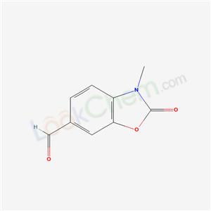 54903-66-1,JPB 25,6-formyl-3-methyl-2(3H)-benzoxazolone;3-methyl-2-oxo-2,3-dihydro-benzooxazole-6-carbaldehyde;2,3-dihydro-3-methyl-2-oxobenzo[d]oxazole-6-carbaldehyde;2,3-Dihydro-1-methyl-2-oxo-5-benzoxazolecarboxaldehyde;3-methyl-2-oxo-2,3-dihydrobenzoxazole-6-carbaldehyde;6-formyl-3-methylbenzoxazolinone;3-methyl-6-formyl-2(3H)-benzoxazolinone;5-Benzoxazolecarboxaldehyde,2,3-dihydro-1-methyl-2-oxo;N-methyl-6-formyl-2-benzoxazolinone;JPB 25;