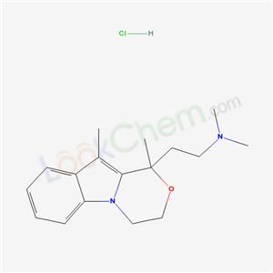 56255-33-5,1H-(1,4)Oxazino(4,3-a)indole, 3,4-dihydro-1,10-dimethyl-1-((2-dimethylamino)ethyl)-, hydrochloride,