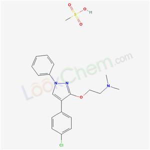 62832-07-9,2-[4-(4-chlorophenyl)-1-phenyl-pyrazol-3-yl]oxy-N,N-dimethyl-ethanamine; methanesulfonic acid,