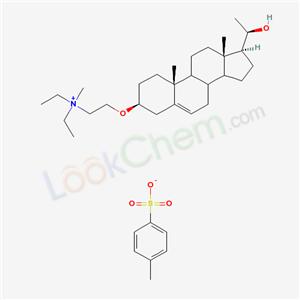 68710-62-3,Ethanaminium, N,N-diethyl-2-(((3-beta,20R)-20-hydroxypregn-5-en-3-yl)oxy)-N-methyl-, 4-methylbenzenesulfonate (salt),diethyl-[2-[[(3S,10R,13S,17S)-17-[(1R)-1-hydroxyethyl]-10,13-dimethyl-2,3,4,7,8,9,11,12,14,15,16,17-dodecahydro-1H-cyclopenta[a]phenanthren-3-yl]oxy]ethyl]-methylazanium;TX 047;