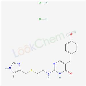 70311-39-6,4(1H)-Pyrimidinone, 5-((4-hydroxyphenyl)methyl)-2-((2-(((5-methyl-1H-imidazol-4-yl)methyl)thio)ethyl)amino)-, dihydrochloride,