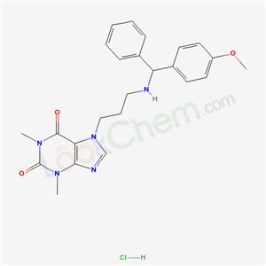 72754-70-2,1H-Purine-2,6-dione, 3,7-dihydro-1,3-dimethyl-7-(3-(((4-methoxyphenyl)phenylmethyl)amino)propyl)-, monohydrochloride,