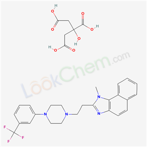 Molecular Structure of 110545-39-6 (1H-Naphth(1,2-d)imidazole, 1-methyl-2-(2-(4-(3-(trifluoromethyl)phenyl)-1-piperazinyl)ethyl)-, 2-hydroxy-1,2,3-propanetricarboxylate (1:1))