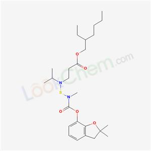 82560-58-5,2-ethylhexyl 3-[[(2,2-dimethyl-3H-benzofuran-7-yl)oxycarbonyl-methyl-amino]sulfanyl-propan-2-yl-amino]propanoate,