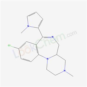 87566-38-9,Pyrazino(1,2-a)(1,4)benzodiazepine, 1,2,3,4,4a,5-hexahydro-9-chloro-3-methyl-7-(1-methyl-1H-pyrrol-2-yl)-,