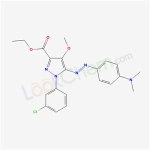 172701-49-4,Ethyl 1-(3-chlorophenyl)-5-((4-(dimethylamino)phenyl)azo)-4-methoxy-1H-pyrazole-3-carboxylate,