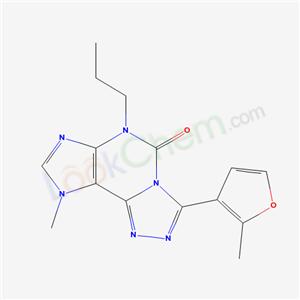 135445-77-1,5H-1,2,4-Triazolo(3,4-i)purin-5-one, 6,9-dihydro-9-methyl-3-(2-methyl-3-furanyl)-6-propyl-,