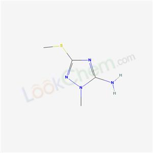 51108-35-1,1-Methyl-3-(methylthio)-1H-1,2,4-triazol-5-amine,1-METHYL-3-(METHYLTHIO)-1H-1,2,4-TRIAZOL-5-AMINE;1H-1,2,4-Triazol-5-amine,1-methyl-3-(methylthio)-(9CI);1-Methyl-3-(methylthio)-1H-1,2,4-triazol-5-amine, Tech.