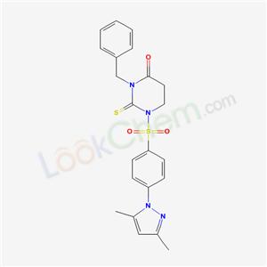 69180-66-1,3-benzyl-1-[4-(3,5-dimethylpyrazol-1-yl)phenyl]sulfonyl-2-sulfanylidene-1,3-diazinan-4-one,